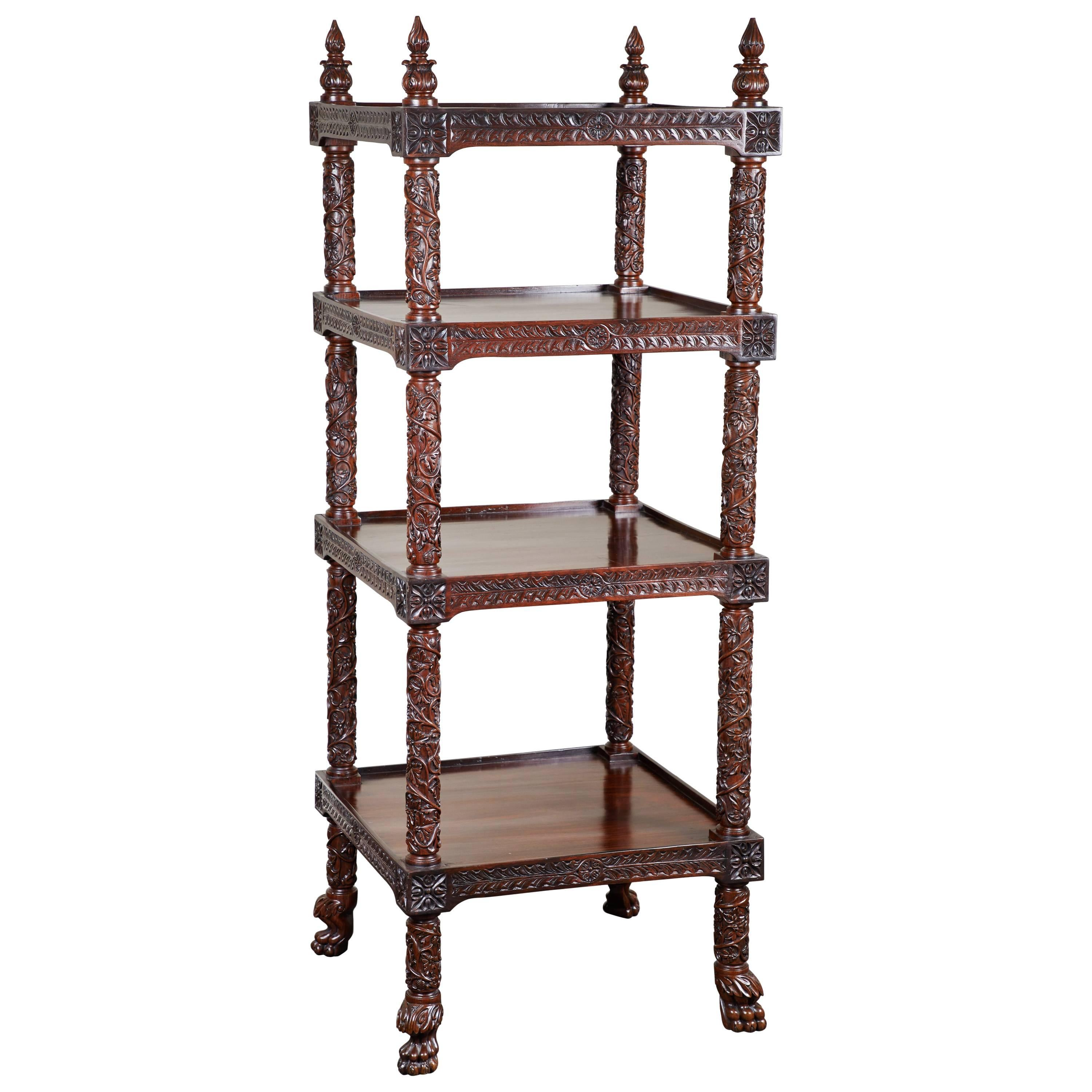 19th century fourtiered rosewood carved etagere