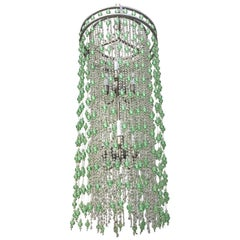 Hollywood Regency Green and Clear Raindrop Statement Chandelier