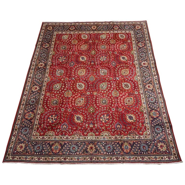 Signed Persian Tabriz Area Rug, Circa 1940 For Sale At 1stdibs
