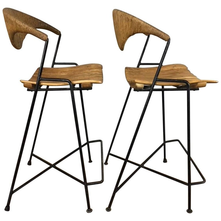 Arthur Umanoff Slat Seat and Chord Back Bar Stool, Pair