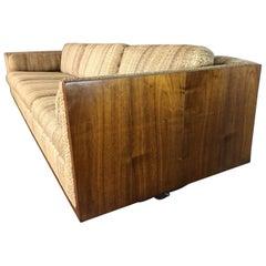 Milo Baughman Walnut Side Case Sofa
