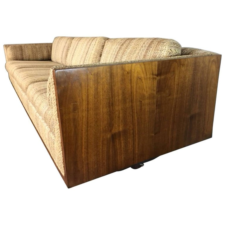 Milo Baughman Walnut Side Case Sofa