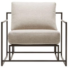 Grey Wool and Blackened Steel Armchair