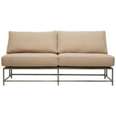 Tan Wool and Antique Nickel Loveseat