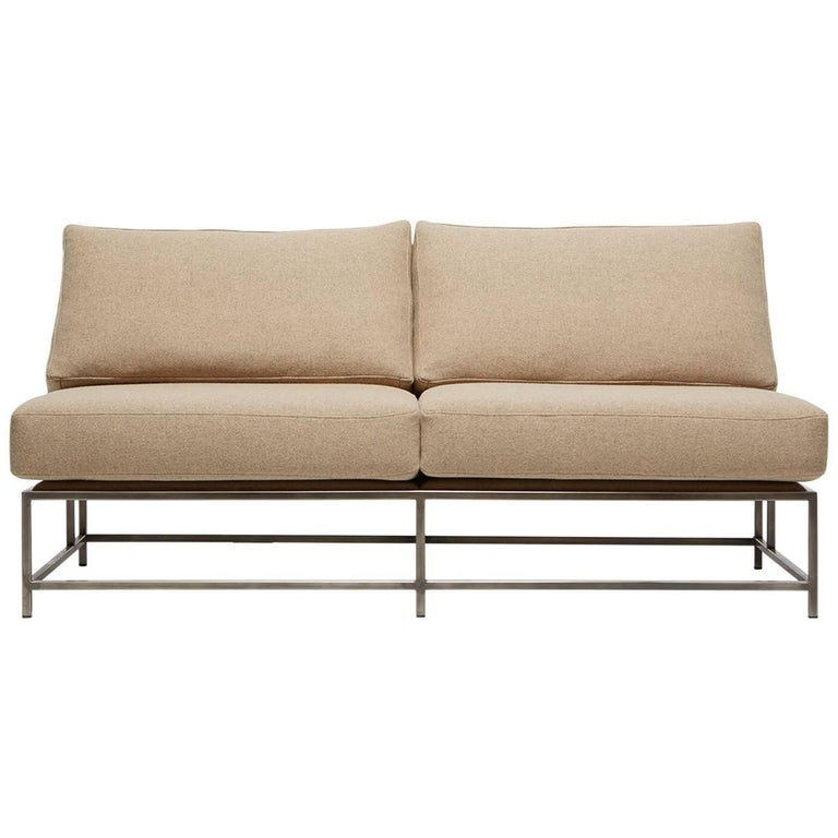 Tan Wool and Antique Nickel Loveseat For Sale