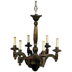 20th Century Wooden Six-Arm French Neoclassical Painted Chandelier