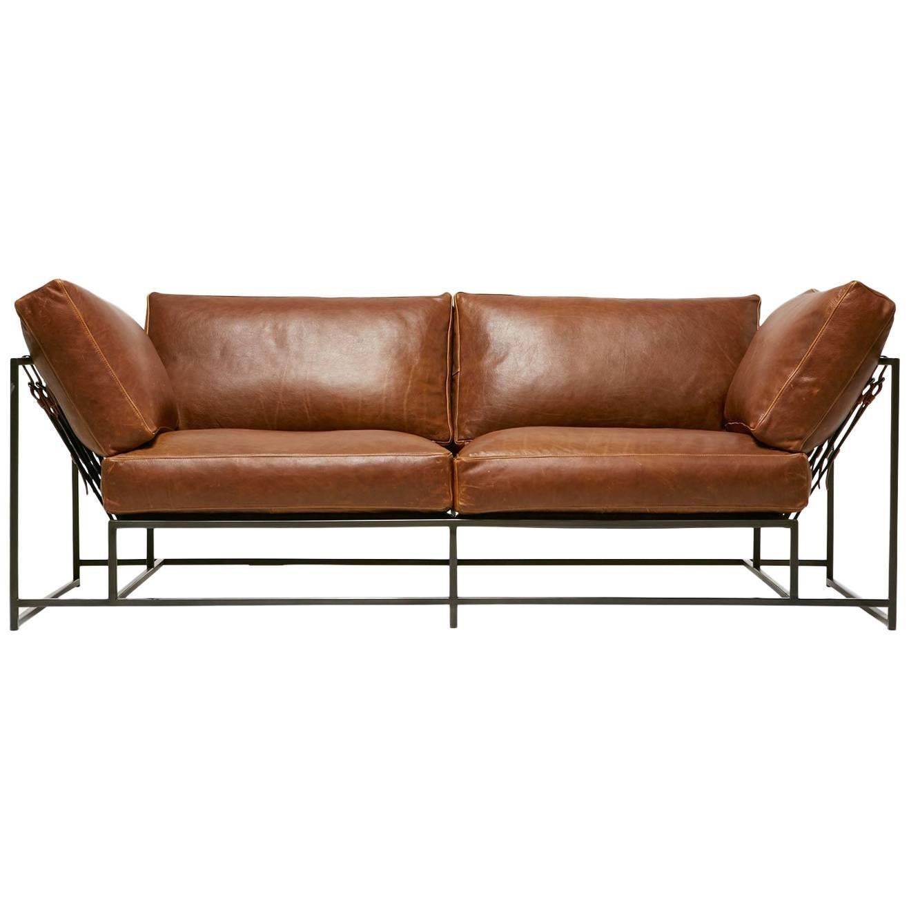 Potomac Leather and Blackened Steel Two-Seat Sofa