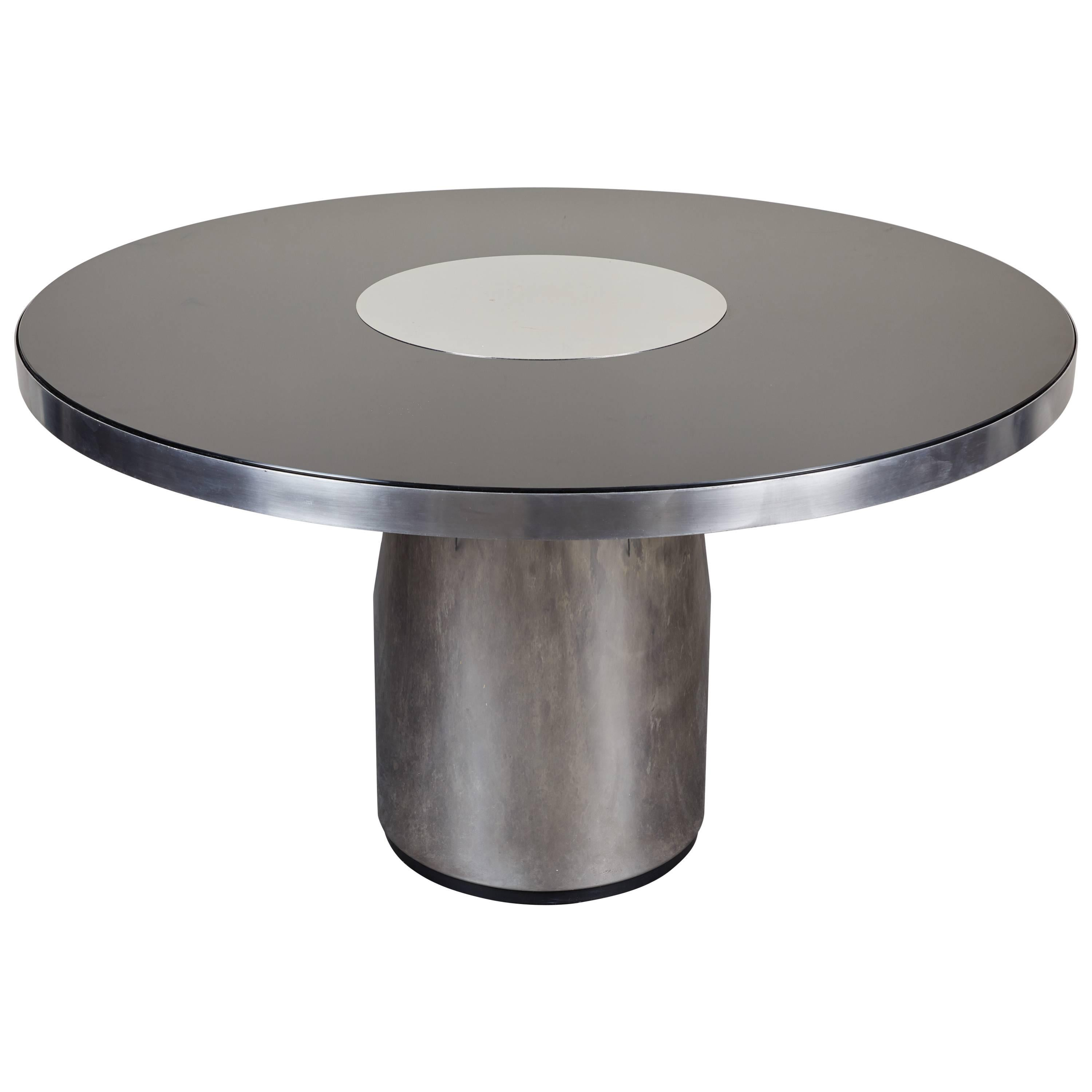 Brueton Round Steel and Glass Table, Paul Evans Style