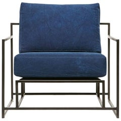 Hand-Dyed Indigo Canvas and Blackened Steel Armchair