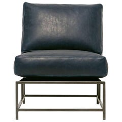 Navy Leather and Antique Nickel Chair