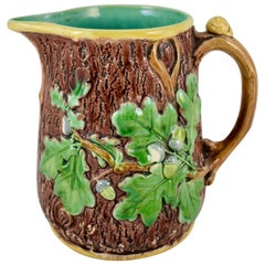 Thomas Minton English Staffordshire Majolica Rustic Oak Leaf and Snail Pitcher