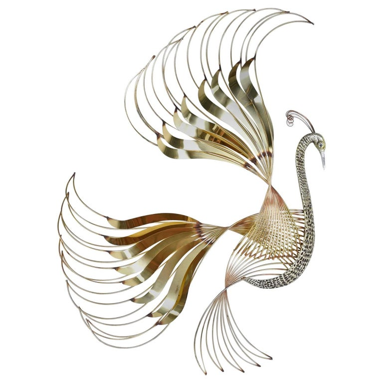Curtis C. Jere Brass Peacock Bird of Paradise Wall Art Sculpture, 1980s