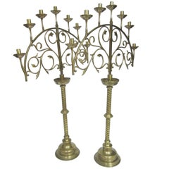 Pair of Ecclesiastical Menorah Brass Candleholders