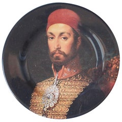 Sultan Abdulmecid I Ceramic Plate by Les Ottomans, Handmade in Italy