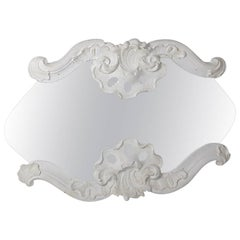 Mirror in White Painted Rococo Frame