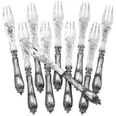 Ravinet D'Enfert Rare French Sterling Silver Melon Forks Set, Rococo
