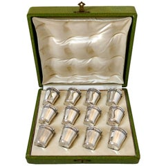 Antique French Sterling Silver 18-Karat Gold Liquor Cups 12 Pieces, Original Box