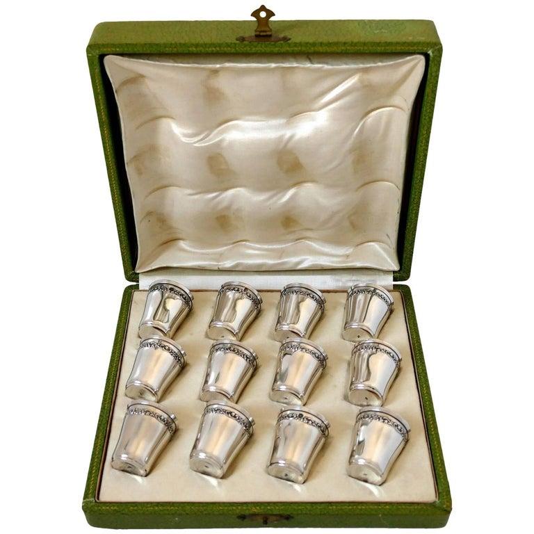 Antique French Sterling Silver 18-Karat Gold Liquor Cups 12 Pieces, Original Box