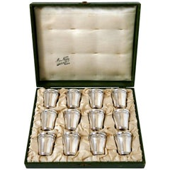 Gruyer French Sterling Silver Liquor Cups 12 Pieces, Original Box, Rococo