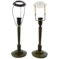 Just Andersen Style, a Pair of Table Lamps of Bronze, Denmark, 1940s