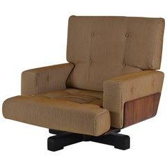 Italian Walnut, 1970s Swivel Chair