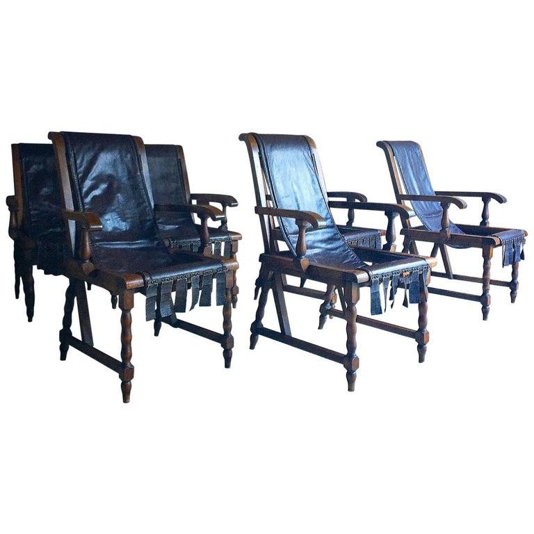 Italian Dining Chairs Six Set of Six Antique Walnut Leather Slung Seats Unique