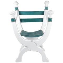 Italian White Painted Oak Dagobert Seat