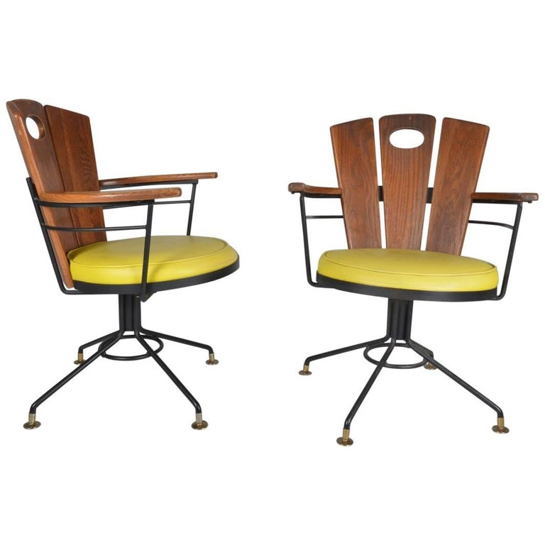 Pair of American Oak Swivel Chairs