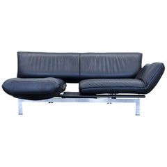 De Sede Ds 140 Designer Sofa Leather Black Two-Seat Function Couch Modern