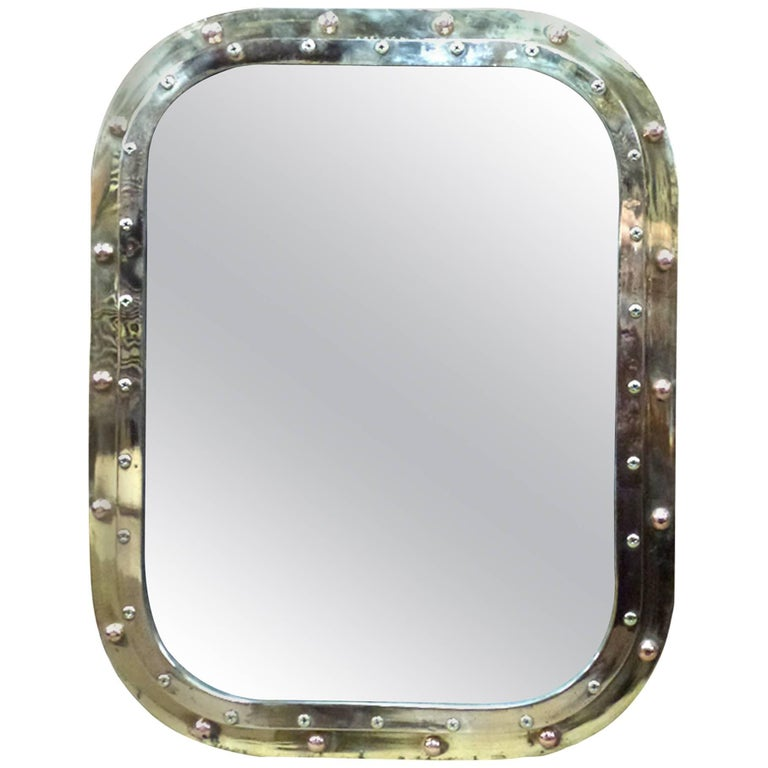 Brass Porthole Rectangular Mirror