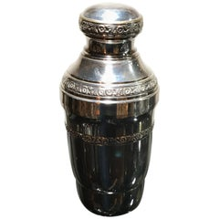 Silver Plated Cocktail Shaker with Ornate Embossed Flowers