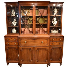 Very Fine George III Mahogany Break Front Bookcase with Satinwood Interior