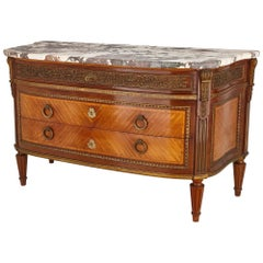 Antique French Marble Topped Louis XVI Style Commode