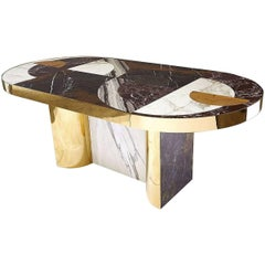 """Half Moon"" Marble and Brass or Gold-Plated Dining Table Designed by Lara Bohinc"