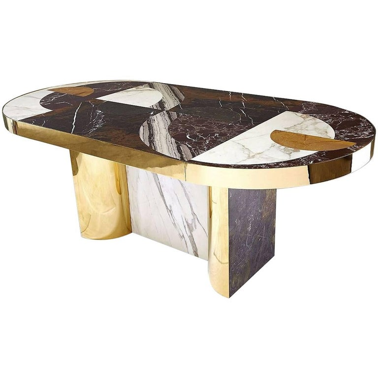 """""""Half Moon"""" Marble and Brass or Gold-Plated Dining Table Designed by Lara Bohinc"""