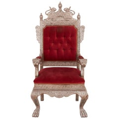 Antique Indian Silver Mounted Red Velvet Throne Chair