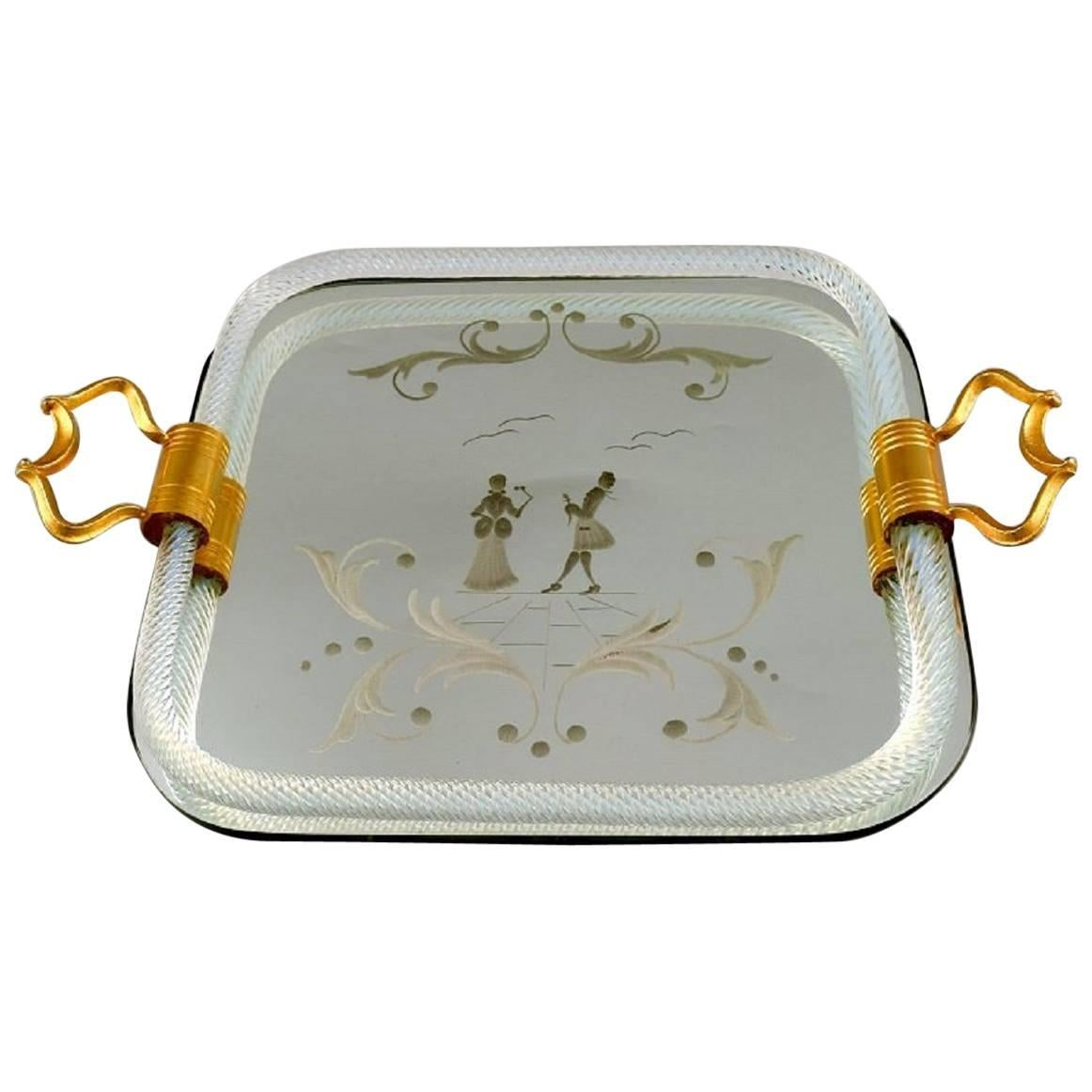 Murano, Italy, Rectangular Tray with Mirrored Plate
