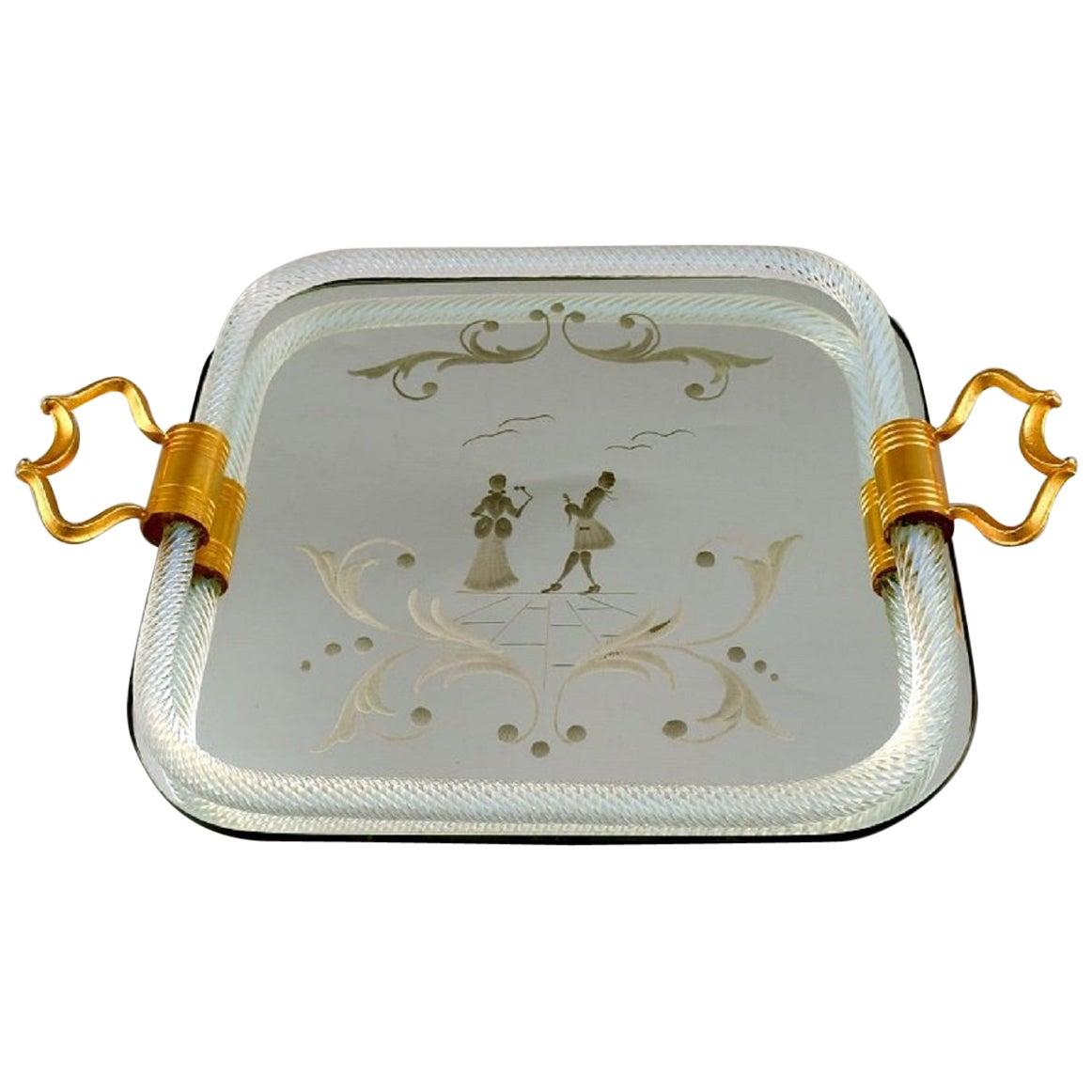 Murano, Italy, Rectangular Tray with Mirrored Plate