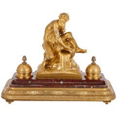 Red Marble and Gilt Bronze Antique Inkstand by Barbedienne