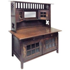 Arts & Crafts Movement Sideboard in Oak with Glazed Upper Cabinets
