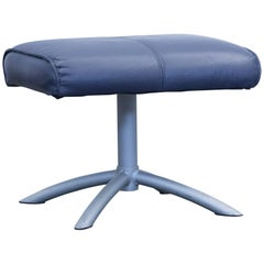 Designer Footstool Leather Blue One Seat Pouff Footrest Couch Modern