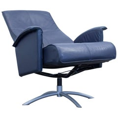 Designer Relax Armchair Leather Blue One Seat Couch Modern