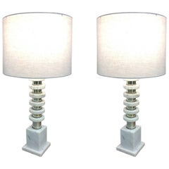 Pair of Handsome Italian Mid-Century Modern Marble and Chrome Lamps