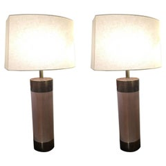 Stunning Pair of Columnar Wood and Copper Clad Mid-Century Modern Lamps