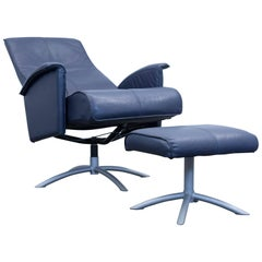 Designer Relax Armchair Set Leather Blue One Seat Couch Modern