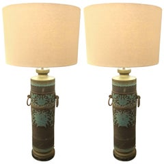 Pair of Ornate Embossed Metal Table Lamps