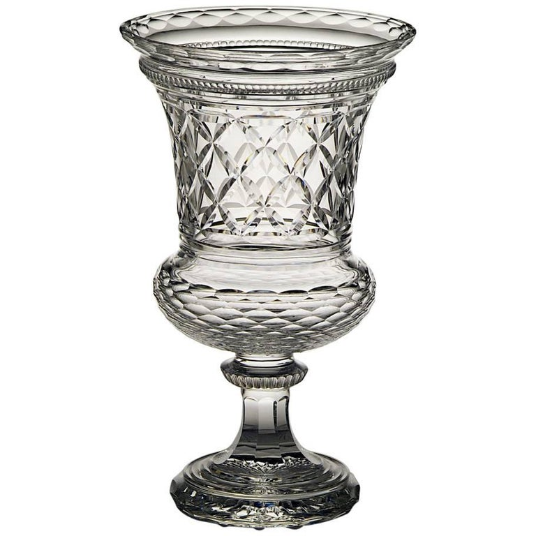 Hand Engraved Crystal vase made in Italy