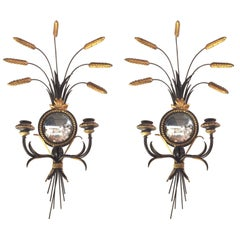 Pair of Elegant Regency Style Black Enameled and Gilt Metal Sconces