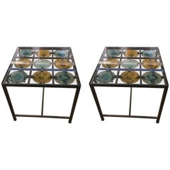Sensational Pair of Spanish Side Tables with Handblown Glass Discs
