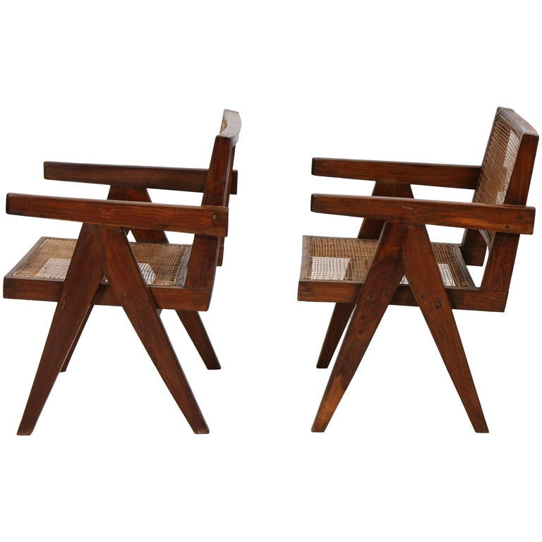 "Set of Two Armchairs Called ""Office Cane Chairs"" from Pierre Jeanneret For Sale"